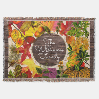 Fall Autumn Leaves Collage Vintage Wood Monogram Throw Blanket