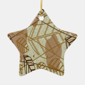 Fall Autumn Leaves Flower Floral Brown Tan Pattern Ceramic Ornament