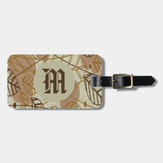 Fall Autumn Leaves Flower Floral Brown Tan Pattern Luggage Tag