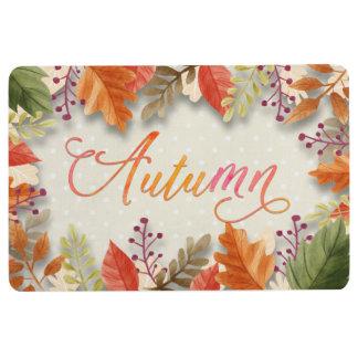 """Fall - Autumn Leaves Framed Beig """"Autumn"""" Word Art Floor Mat"""