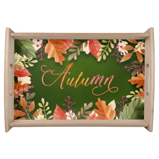 "Fall - Autumn Leaves Framed GRN ""Autumn"" Word Art Serving Tray"