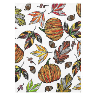 Fall Autumn Leaves Pumpkin and Acorns Illustration Tablecloth