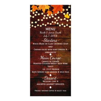 Fall Autumn Leaves & String Lights Wedding Menu
