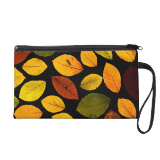 Fall Autumn Leaves Wristlet Bag