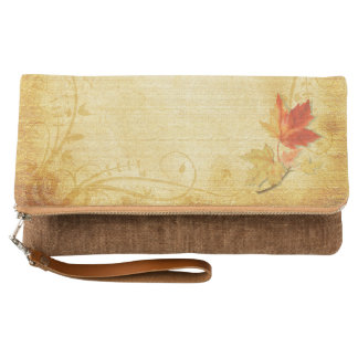 Fall Autumn Maple Leaf Vintage Clutch