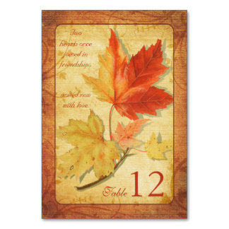 Fall Autumn Maple Leaves Wedding Table Cards