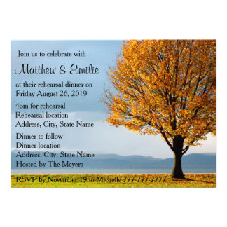 Fall Autumn Maple Tree Rehearsal Dinner Personalized Invite