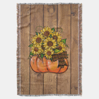 Fall Autumn Pumpkin with Sunflowers Throw Blanket