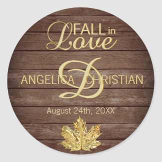 Fall Autumn Rustic Gold FALL IN LOVE Wedding Classic Round Sticker