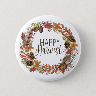 fall autumn watercolor wreath 2 inch round button