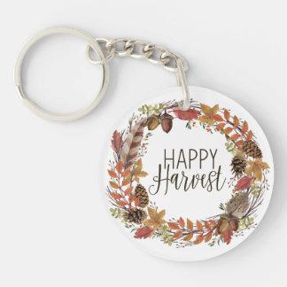 fall autumn watercolor wreath keychain