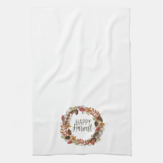 fall autumn watercolor wreath kitchen towel