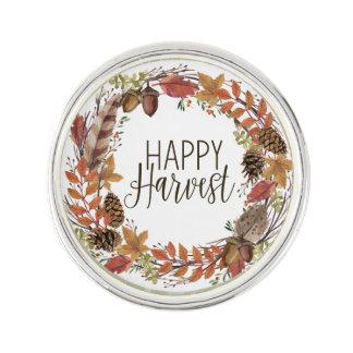 fall autumn watercolor wreath lapel pin
