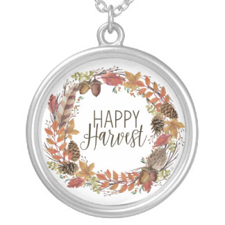 fall autumn watercolor wreath silver plated necklace