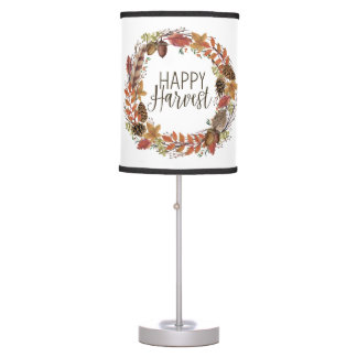 fall autumn watercolor wreath table lamp