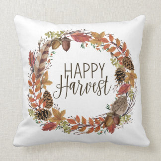 fall autumn watercolor wreath throw pillow