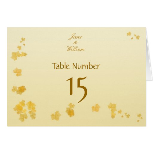 Fall / Autumn Wedding Meal Table Number Card