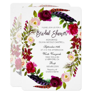 Fall Autumn Wreath Floral Bridal Shower Invitation