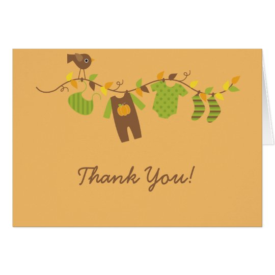 Fall Baby Clothesline Thank You Card