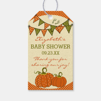 Fall Baby Shower Bunting Flags and Pumpkins Pack Of Gift Tags
