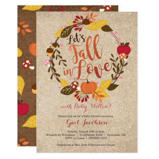 "Fall Baby Shower Invitation - ""Fall in Love"" Pink"