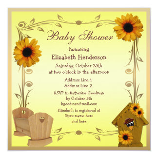Fall Baby Shower Sunflowers, Crib & Crow Card