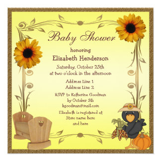 Fall Baby Shower Sunflowers Crib Crow Personalized Invites