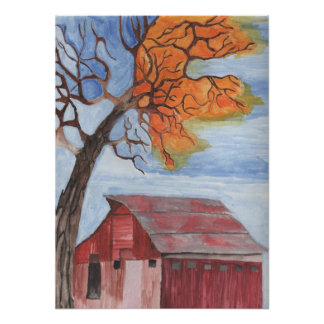 Fall Barn Water Color Pastel Poster