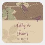 Fall Birds Leaves Wedding Envelope Seal Sticker