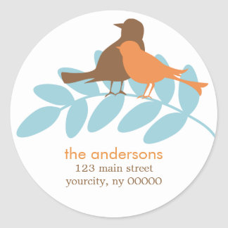 Fall Birds Round Address Labels or Stickers