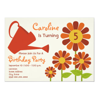 "Fall Birthday Party - Flower Garden & Watering Can 5"" X 7"" Invitation Card"