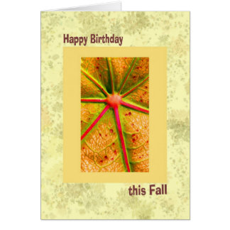 Fall Birthday, Yellow and Gold Card