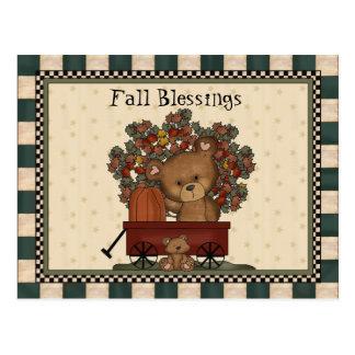 Fall blessings Bear cartoon postcard