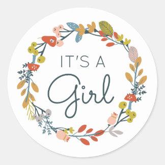 Fall Botanical Baby Shower Classic Round Sticker