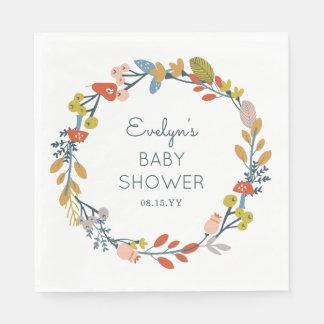 Fall Botanical Baby Shower Paper Napkins