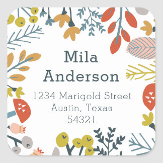 Fall Botanical Square Address Label