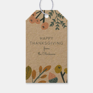 Fall Botanical Thanksgiving Gift Tags