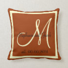 Fall Brown and Cream Wedding keepsake pillow