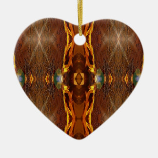 Fall Browns Earthy Oranges Masculine Pattern Ceramic Heart Ornament