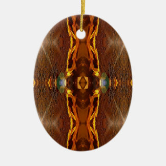 Fall Browns Earthy Oranges Masculine Pattern Ceramic Oval Ornament