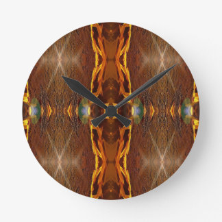 Fall Browns Earthy Oranges Masculine Pattern Clock