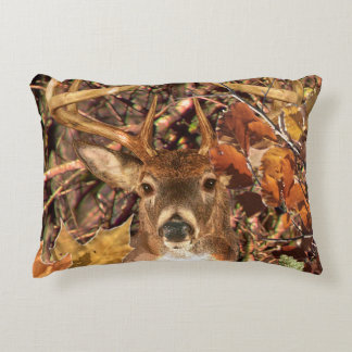 Fall Buck in Camo White Tail Deer Decorative Pillow