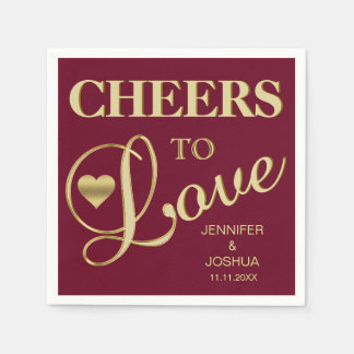 Fall Burgundy CHEERS TO LOVE Gold Heart Wedding Paper Napkin