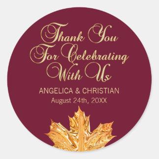 Fall Burgundy Gold Maple Leaf Thank You Wedding Classic Round Sticker