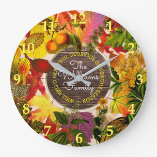 Fall Collage Autumn Leaves Monogram Vintage Wood Large Clock