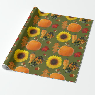 Fall Collage Pumpkins Gourds Gift Wrap