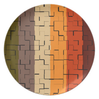 Fall Color Abstract Stripes Plate
