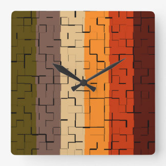 Fall Color Abstract Stripes Square Wall Clock