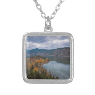 Fall Color along Columbia River Gorge Oregon Silver Plated Necklace