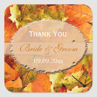 fall color leaves wedding favor thank you square sticker
